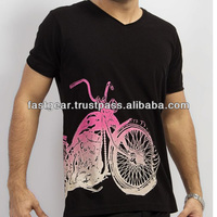 Black Cotton T Shirt with Harley Bike Printed on Front