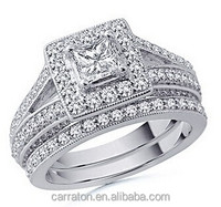 hot sale 925 pure silver king and queen engagement and wedding ring