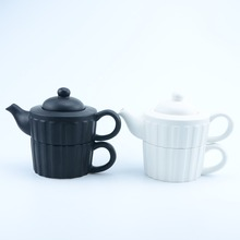 Home Decoration tea service set Plain Matte White & Black Ceramic Teapot and teacup in One for wholesale