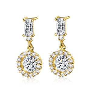 LUOTEEMI Classic Round Drop Earrings for Women AAA Cubic Zirconia Stone Women Dangle Drop Earring Brand Fashion Jewelry