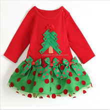 Holiday red dots children girl Christmas dress long sleeve short frock designs