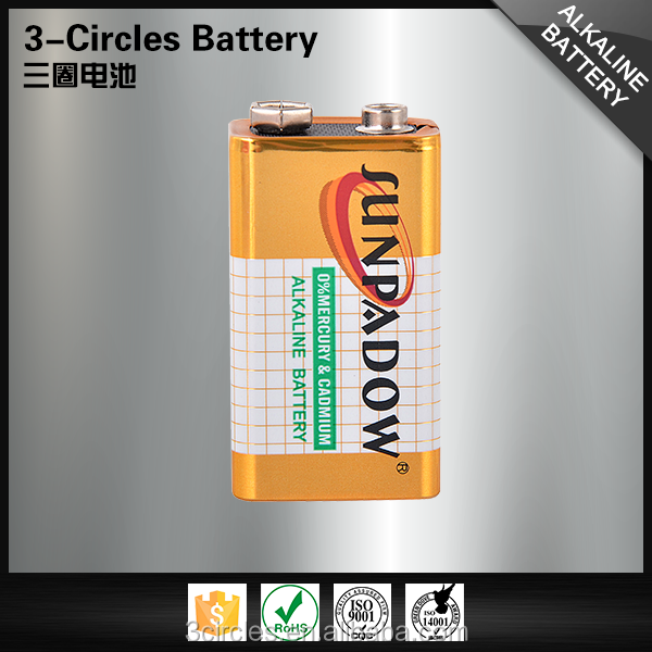 6LR61 500mAh China golden power alkaline 9v battery
