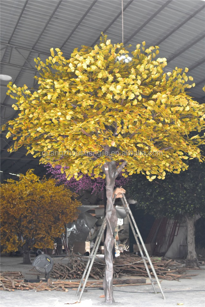 CHY020824 Large silk leaves artificial ginkgo trees decoration