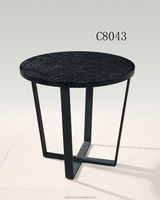 C8043 MDF wood top black metal coffee table for living room and coffee shop