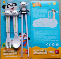 silicone panda animal head children study plastic chopsticks and spoon fork sets