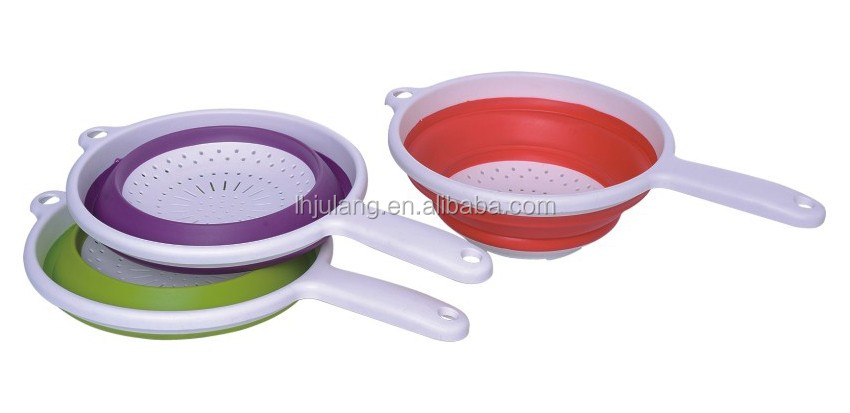 Foldable fruit strainer with handle,plastic foldable colander with handle