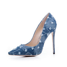 China factory manufacture women pumps Ladies Dress shoes Fashion Denim high heels OCL133