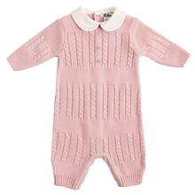 Blue cotton knitted babysuit toddlers baby longalls