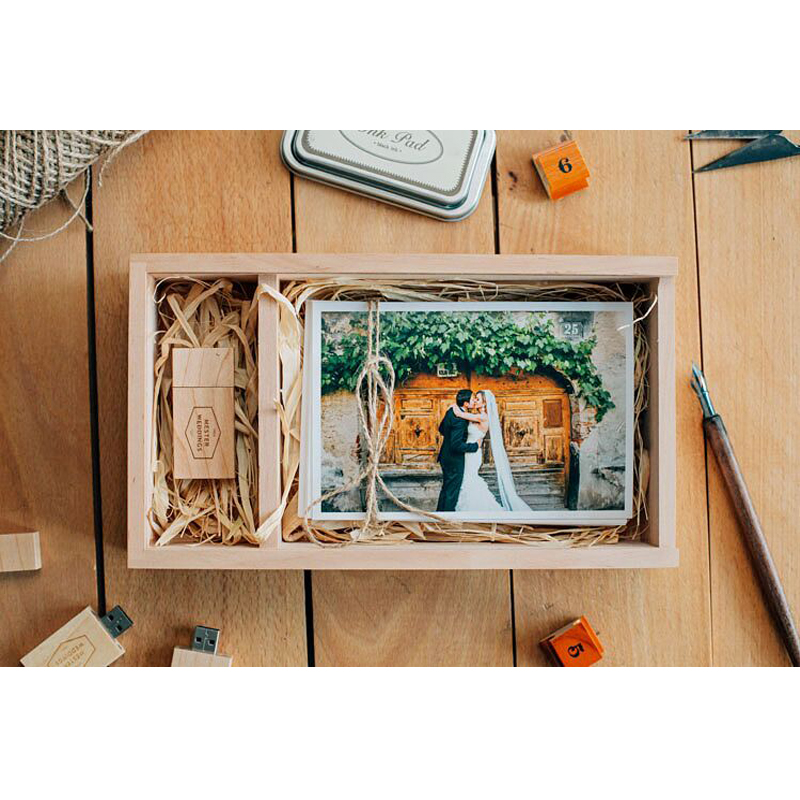 Wedding Gift Photography Wooden Box Package With USB With Fine Prints
