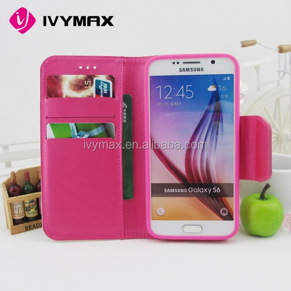 IVYMAX Book Style Stand Wallet Leather flip Cover phone Case for Samsung Galaxy S6
