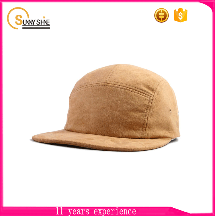 Custom Suede 5 panel caps design your own flat brim 5 panel hats wholesale