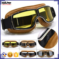 BJ-GT-011 New Arrival Adult Yellow Leather Goggles Glasses Vintage Motorcycle Helmet Eyewear