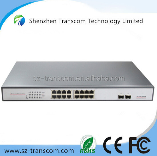 16 Port POE Switch/CE FCC RoHS certificated gigabit POE switch/ 16 gigabit POE ports 2 gigabit fiber ports Switch POE