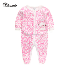 hot sale 100 % cotton sweet pink leopard stripe funny leopard pattern vintage baby clothes