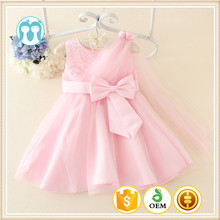 2017 summer new styled frock sleeveless design cotton dress for baby girls