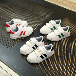 Stripe Rubber bottom Baby Sports Kids shoes children Casual boys and girls Sneaker Fashion Pu leather shoes