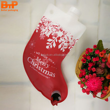 Christmas boots design bib wine gift bag pouch with spout packaging