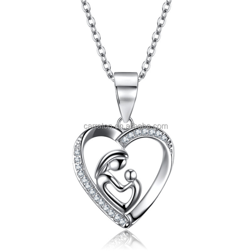 Fashionable Jewelry 925 Sterling Silver Cz Mother and Child Heart Gift Pendant Necklace