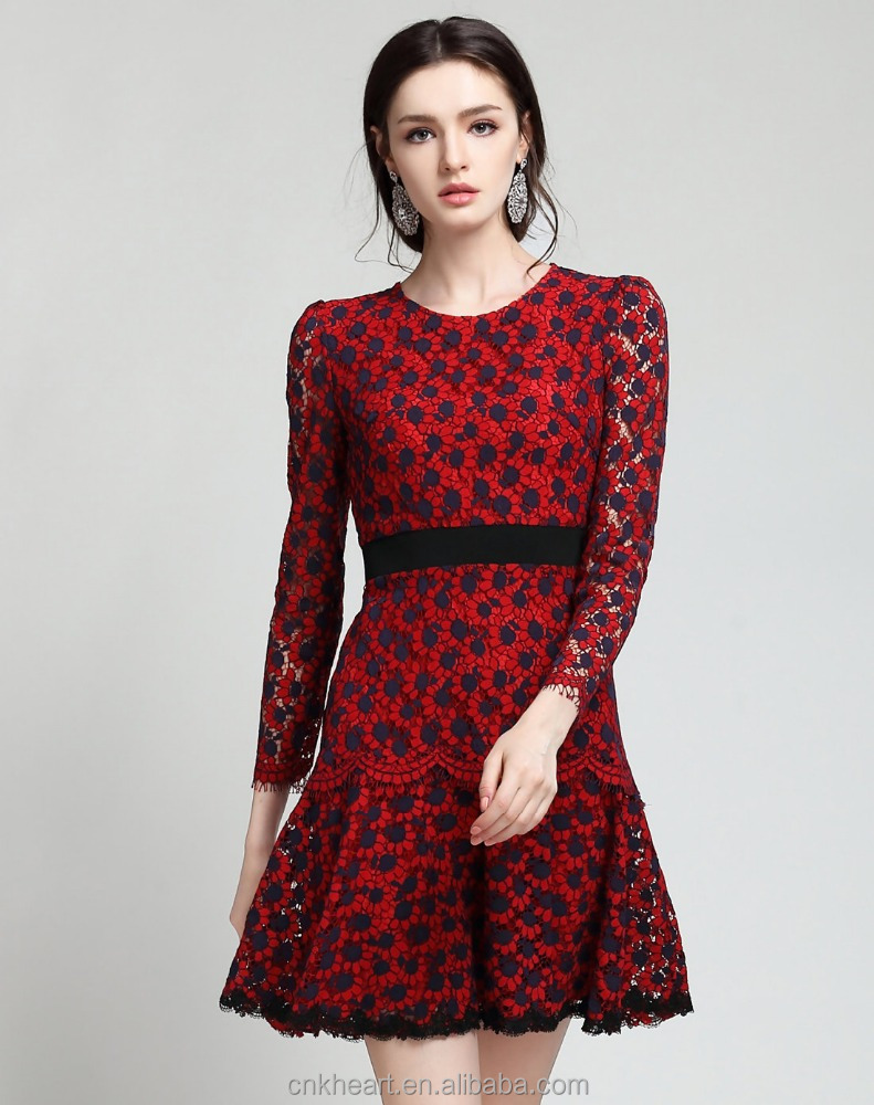 Dress women in red lace mini round neck a line dress