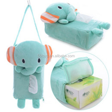 Cartoon Animal Pattern Plush Tissue Box Fabric Tissue Holder Cover for Home and Car Decoration