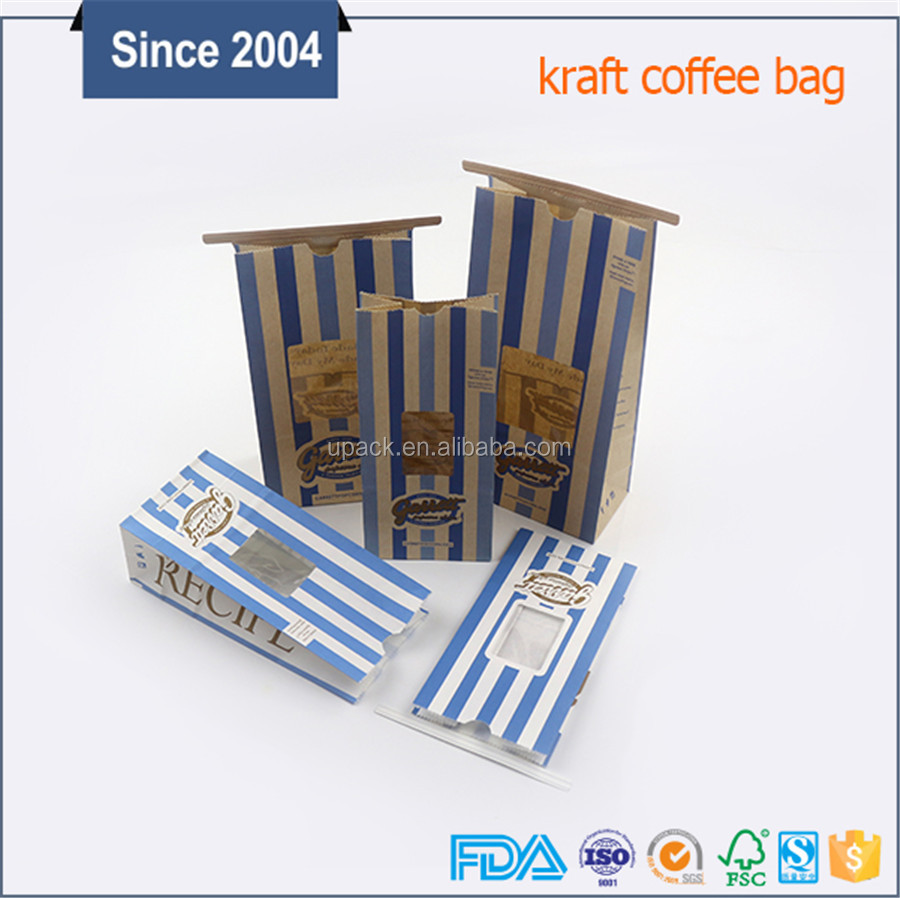 Factory directly sale cheap price food bag tin tie kraft foil lined paper bags with window