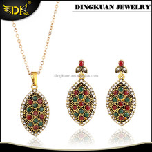 colorful crystal jewelry ellipse pendant jewelry sets for women