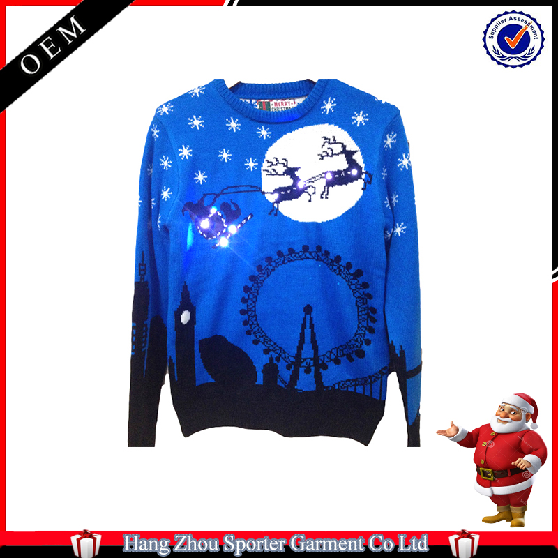 16FZCS77 holiday led pullover lighted christmas sweater with lights