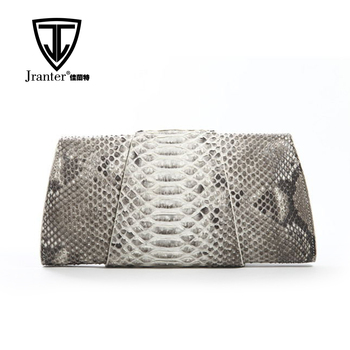 OEM ODM Real Luxury Python Clutch Bag For Ladies Black and White Handmade