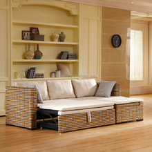 Rattan Wicker Hand Woven Living Room Furniture Set Multipurpose Futon Modern Design Corner L Shape Sofa Cum Bed