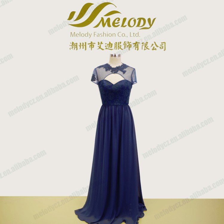 Special blue embroidery tulle see through dress beaded evening wear tops