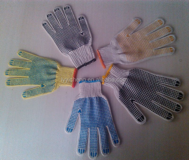 pvc dotted cotton glove/cotton drill gloves knit wrist wing thumb with pvc dots