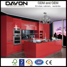 New Design high gloss lacquer enamel kitchen cabinets red