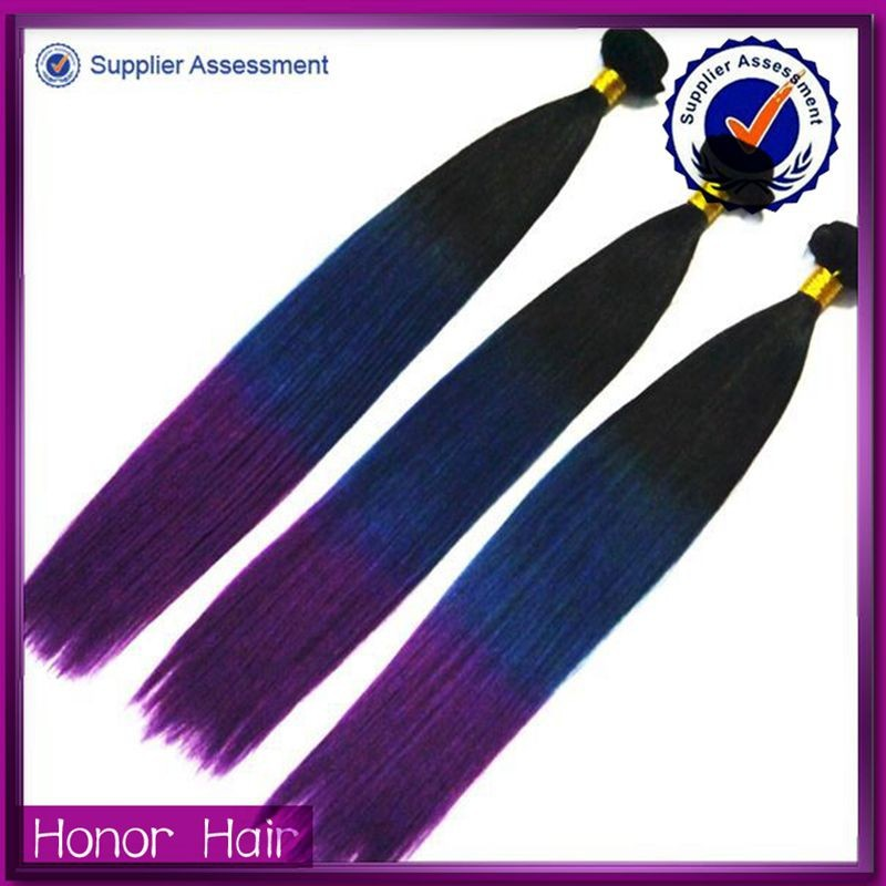 New product!Top Quality Remy Human Hair extension three colors ombre hair coloring