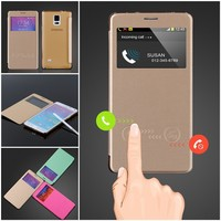 Front View Window Case For Samsung Galaxy Note 4 Case Flip Leather Smart Sliding Answer Calls Phone Cases