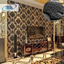 Free shipping tax to russia 4roll/lot Top Quality!!! 3d wallpaper 100% real flocking luxury Velvet wallpaper non-woven