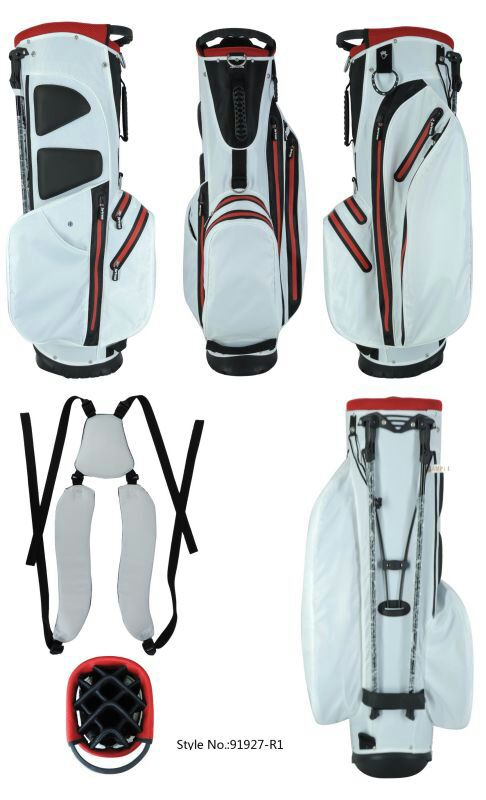 White/Red Golf Stand Bag Waterproof Waterproof Zipper Golf Stand Bag