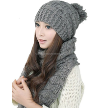 Women Fashion Winter Warm Knitted Scarf and Hat Set