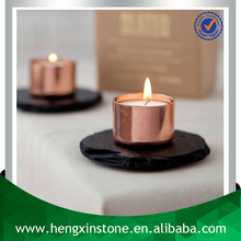 Factory DIrect Luxury Handmade Oiled Dia10cm Natural Edge Black Round Natural Stone Candle Holder Slate Tea Light Holder