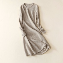 Europe style of knit sweater dress loose-fitting long bulky sweater jacket wormen pure cashmere coat
