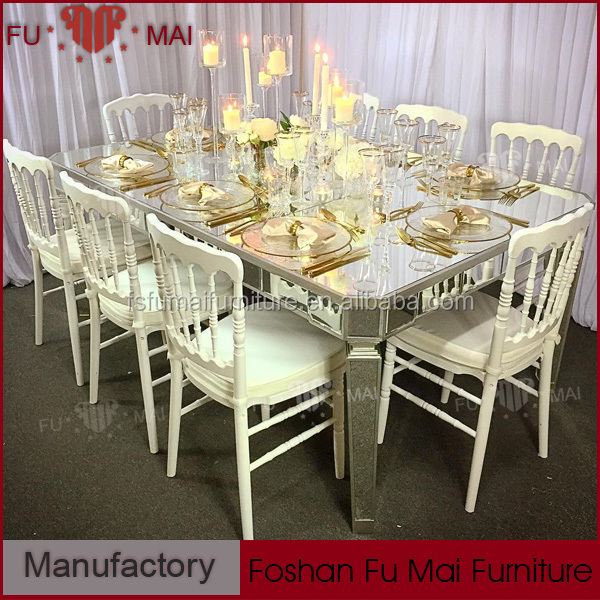 best sales beautiful mirror glass top banquet table dining tables