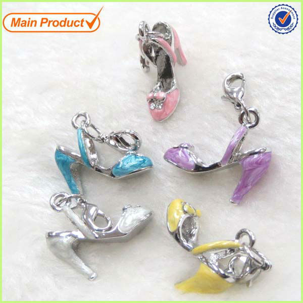 New Arrival 2014 Summer Collection Enamel High Heel Shoe Sandal Charms #17188