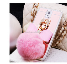 Rabbit Fur Ball Bowknot Crystal Holder Mirror Soft TPU Phone Back Cover Phone Case For Samsung Galaxy Note/3/4/5 S4 S5 S6 S7