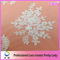 2015Popular design beaded cord lace fabric/fashion bridal embroidered beaded tulle fabric