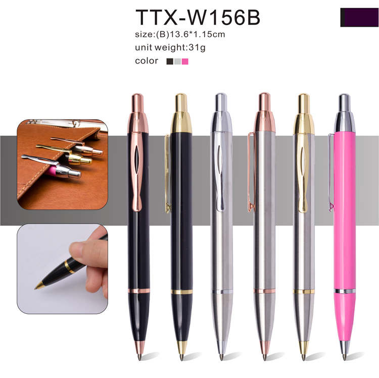 newest design metal click ball point pen with company logo promotional products