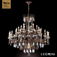 New design antique 35 Lights Large Hotel Candle Bronze cordless crystal chandelier table lamp
