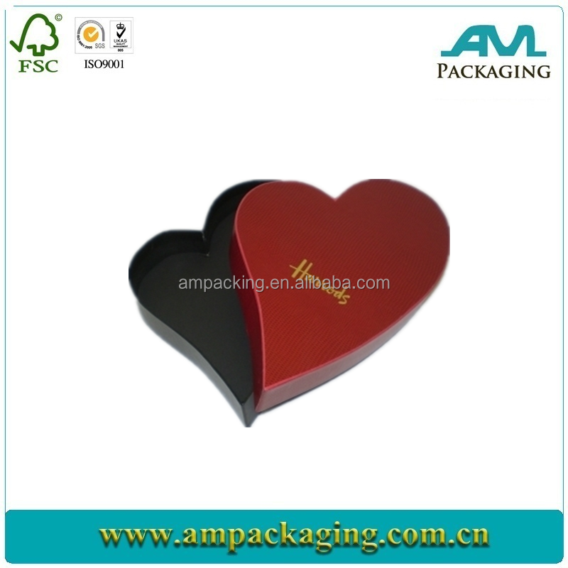 high end red heart shape wedding favor candy gift box design for retail