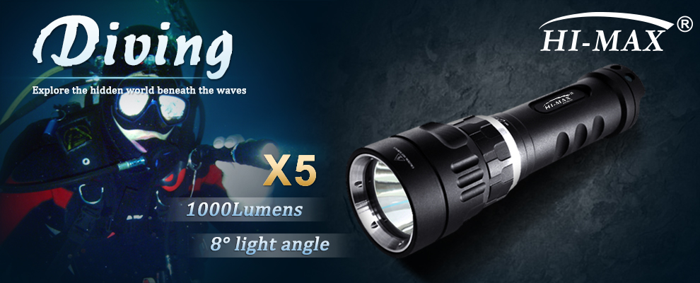 HI-MAX X5 Bright Underwater Waterproof Led Diving Backup Light