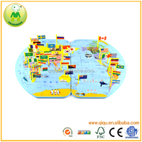 Educational Middle Size World Map Wooden Magnetic Puzzle