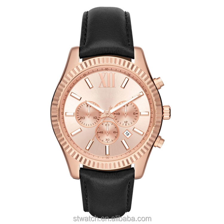 Custom logo quartz rose gold mens sports watches black leather strap
