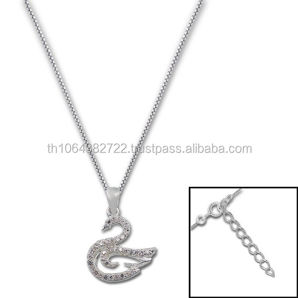 Goose Shape Charm Fack Diamond (CZ) Jeweled Sterling Silver Chain Necklace Women Fashion Neck Jewelry